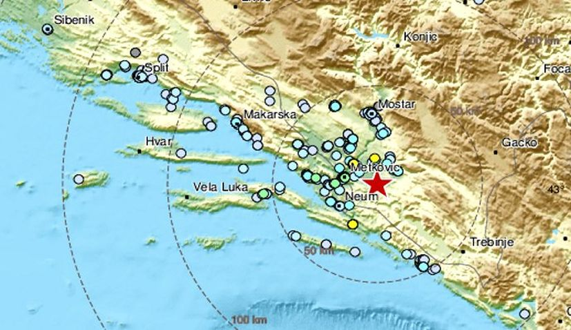 3.9-magnitude earthquake jolts Bosnia and Herzegovina, felt in Dalmatia