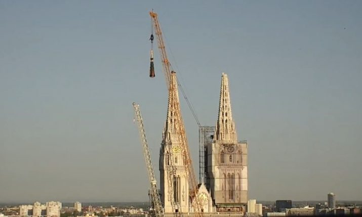 VIDEO: Controlled explosion removes top of Zagreb Cathedral spire