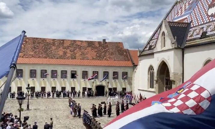 VIDEO: Statehood Day marked with ceremony on St Mark's Square in Zagreb