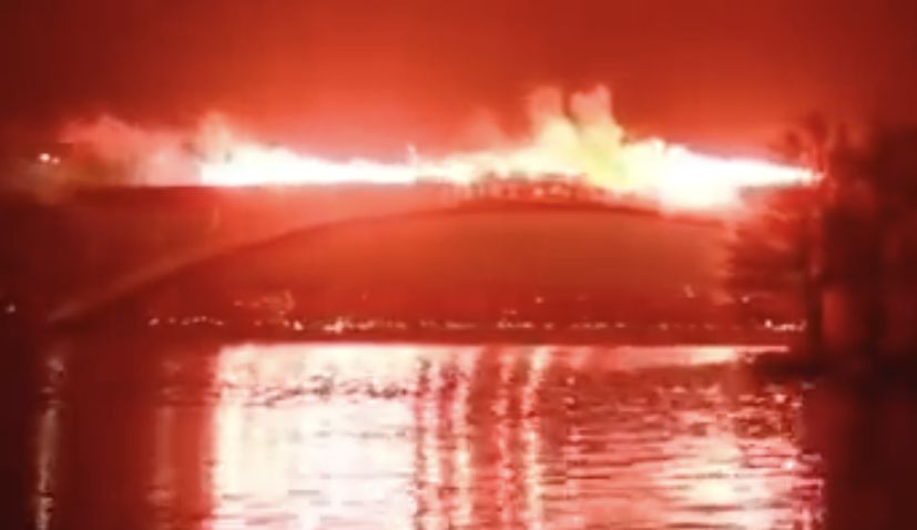 VIDEO: One of Europe's most impressive bridges lit up for late Croatian footballer with flares