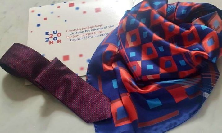 Cravat, neckerchief presented as Croatia's EU presidency protocol gifts