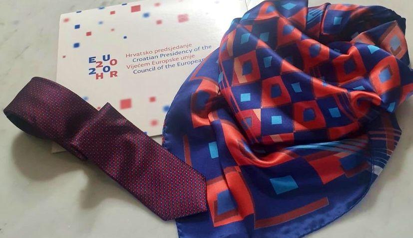 Cravat, neckerchief presented as Croatia's EU presidency protocol gifts