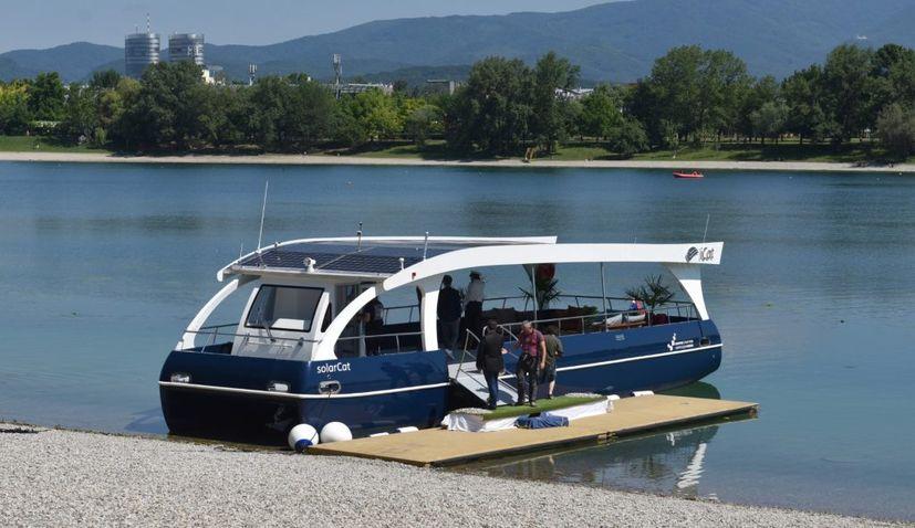 Solar-powered electric boat 'solarCat' presented on Zagreb's Lake Jarun