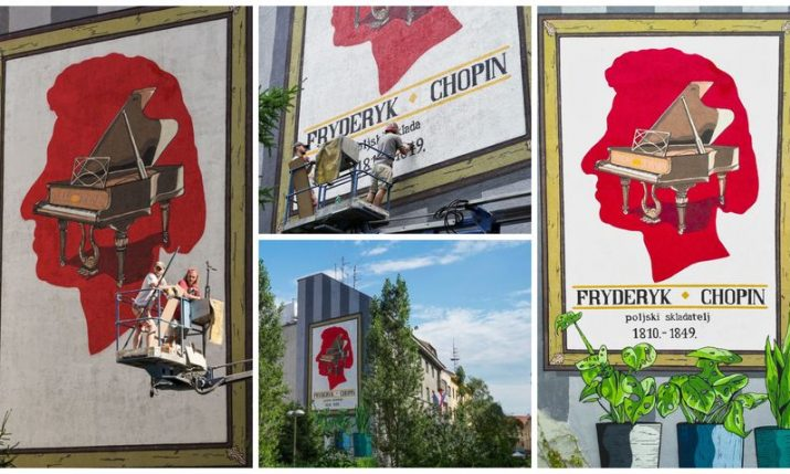 PHOTOS: New mural in Zagreb centre dedicated to famous Polish composer Chopin