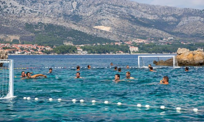 PHOTOS: Croatian water polo team play special match off Korčula island