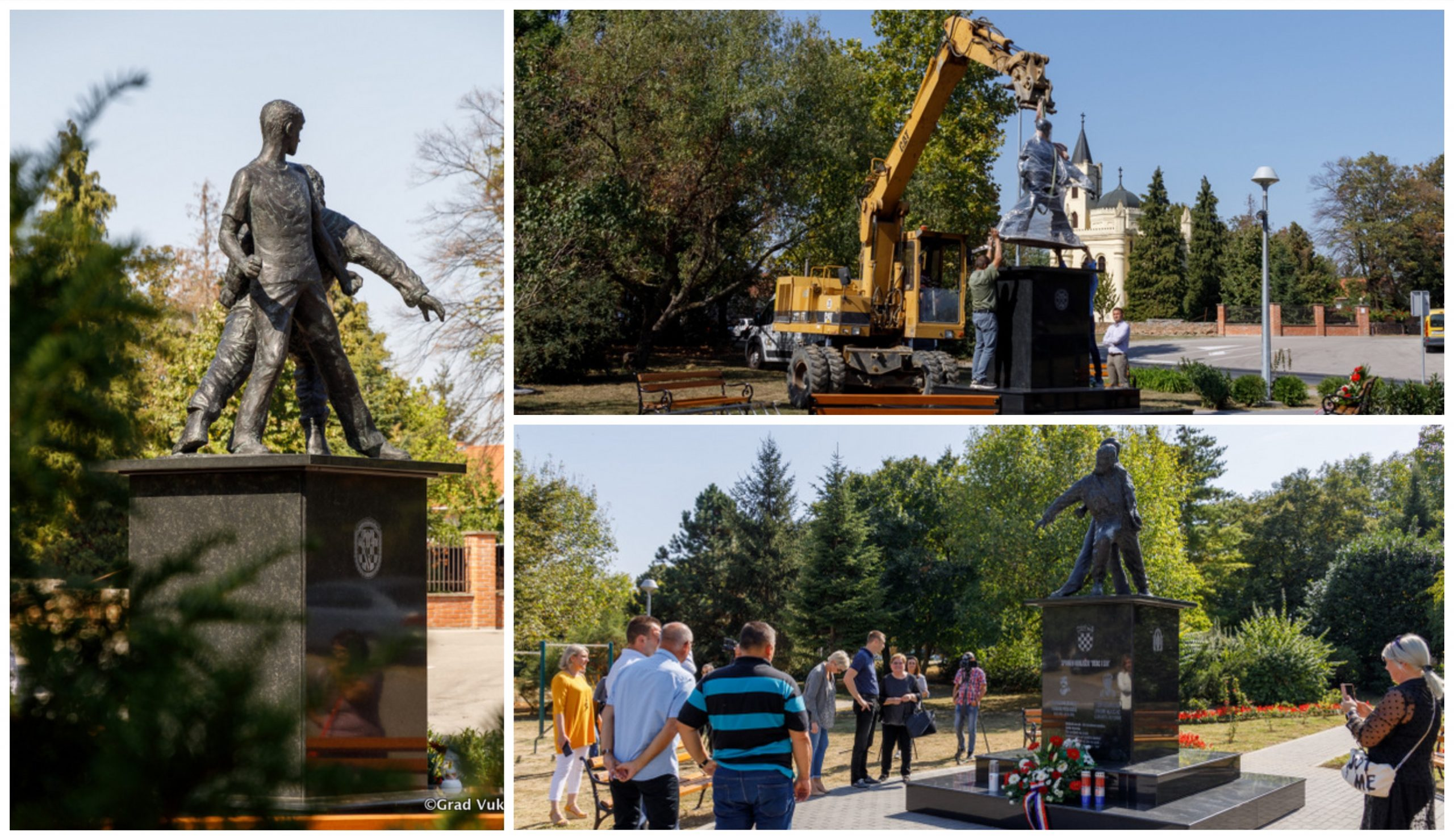 """""""Father and Son"""" statue erected in Vukovar"""