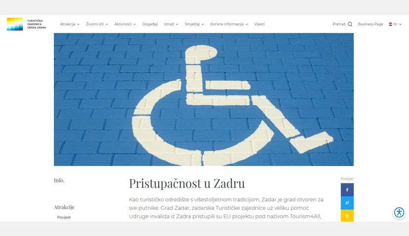 Zadar Tourist Board adapts website for persons with disabilities