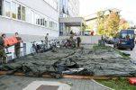 Croatian army sets up tents outside Zagreb University Hospital centre