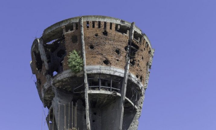 Vukovar Water Tower:  Symbol of defence of Vukovar, Croatia