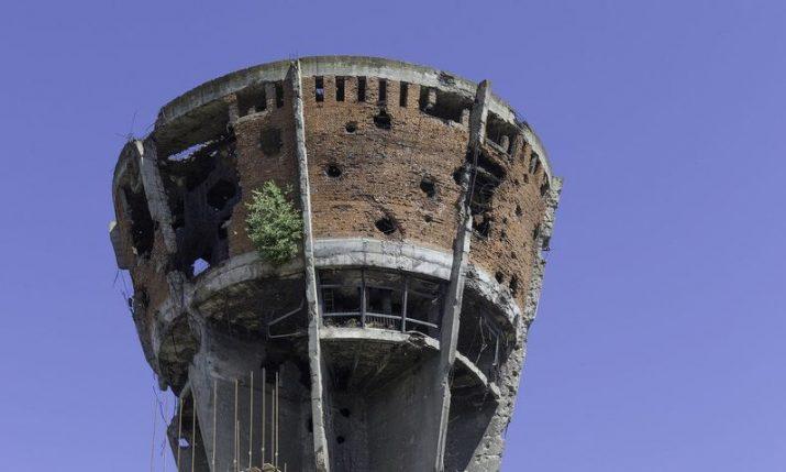 Vukovar Water Tower:  Symbol of defence of Vukovar, Croatia