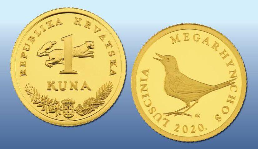 Croatian one kuna gold coin