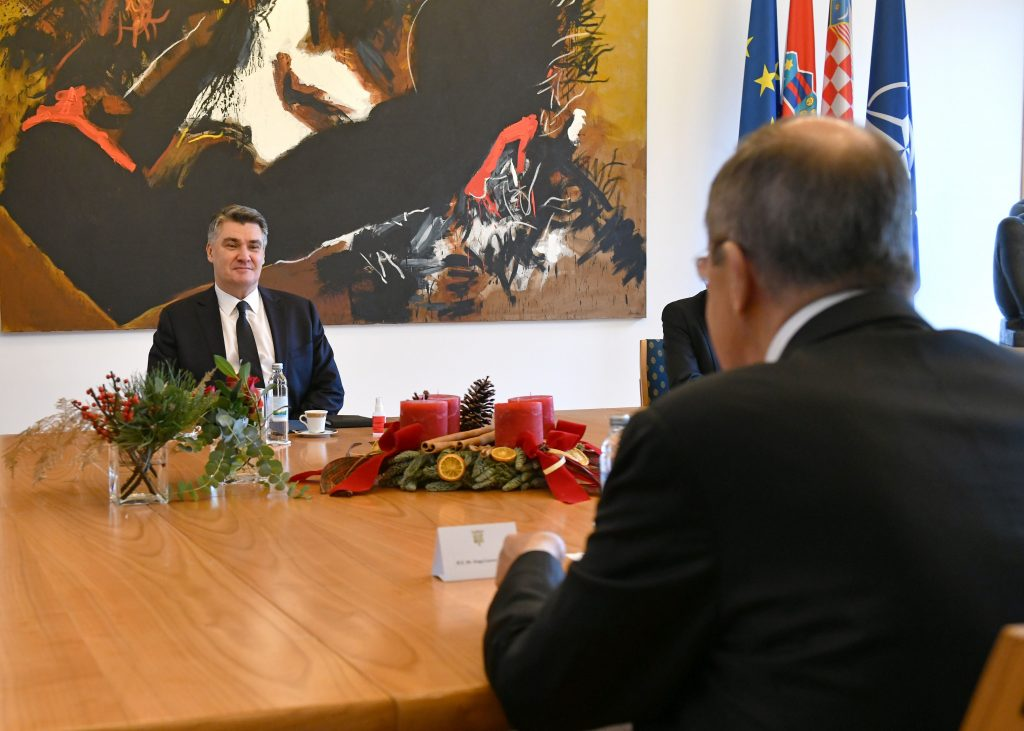 President Milanovic talks with Russia's Minister Lavrov 1