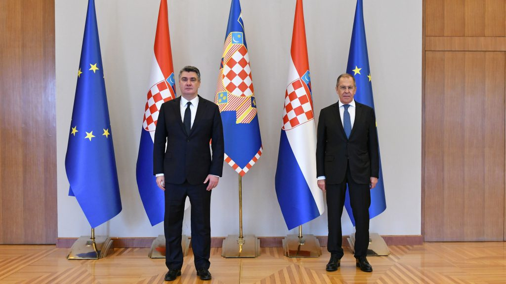 President Milanovic talks with Russia's Minister Lavrov