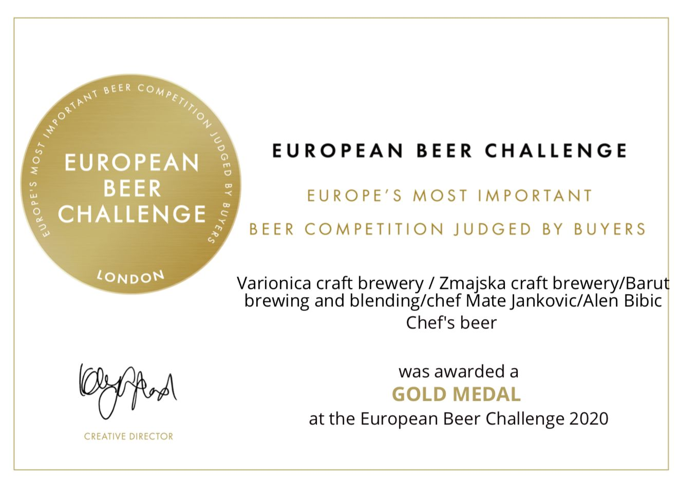 chefs beer certificate