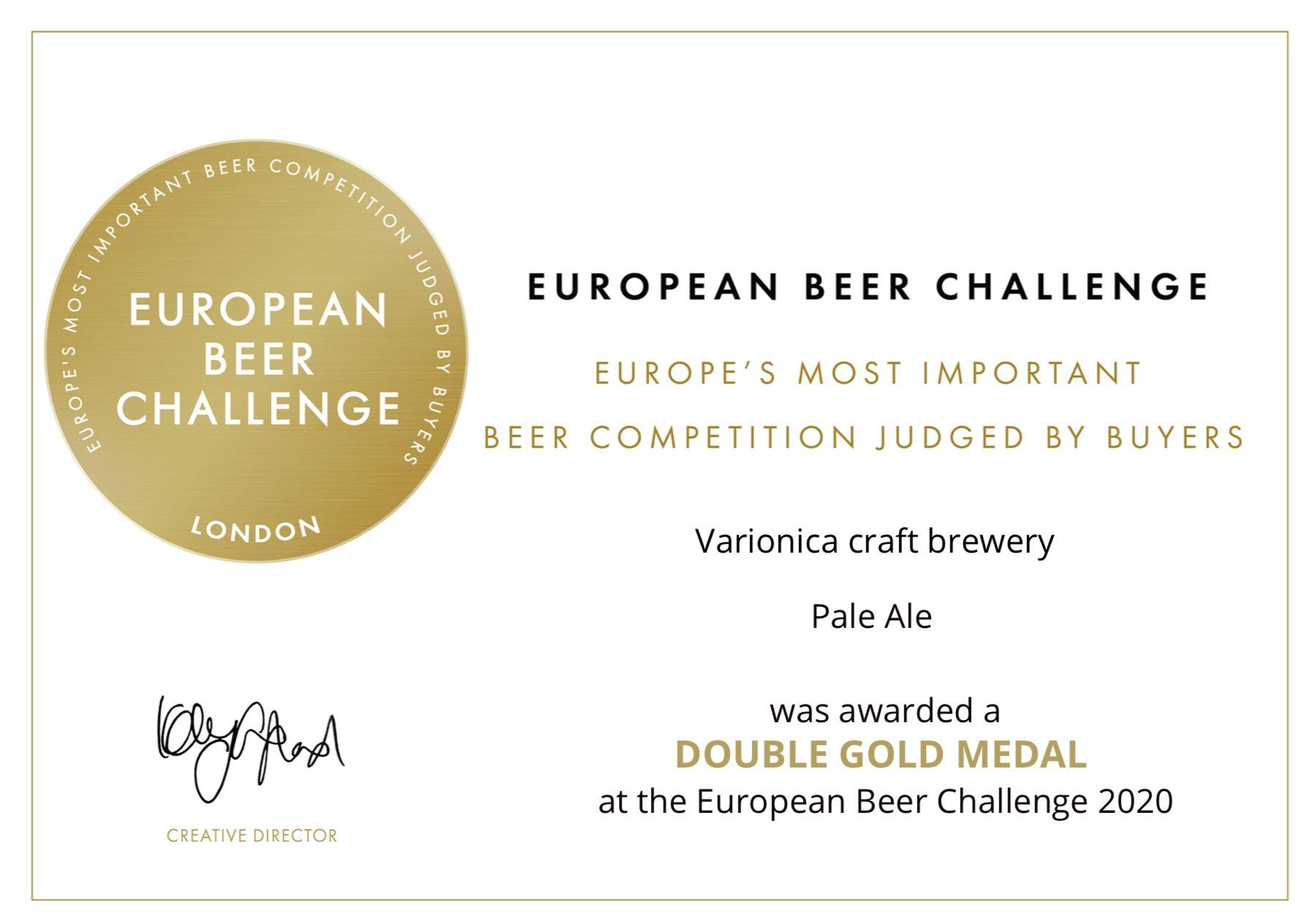 Certificate Pale ale double gold