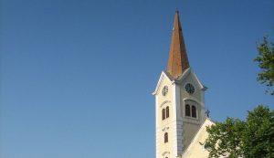 Sisak Holy cross church bell tower cap removed