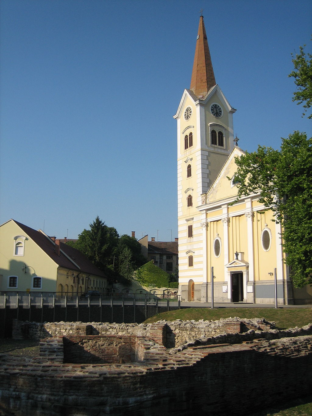 Sisak Holy cross church bell tower cap removed
