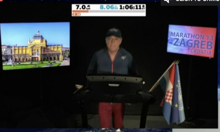 Comic Eddie Izzard running for Zagreb, Croatia