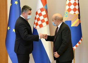 Croatian president Milanović receives French foreign minister