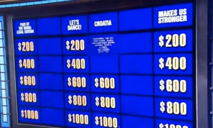 VIDEO: Croatia a category on US game show Jeopardy! for first time