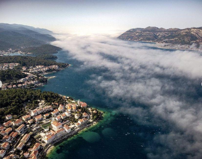 Korčula Nature Photography fog over Korcula island