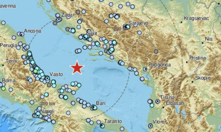 Strong 5.4 magnitude earthquake hits Adriatic Sea between Croatia and Italy