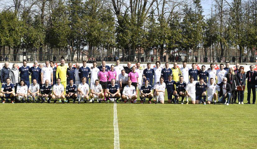 Croatia and Slovenia football legends play benefit match in Petrinja