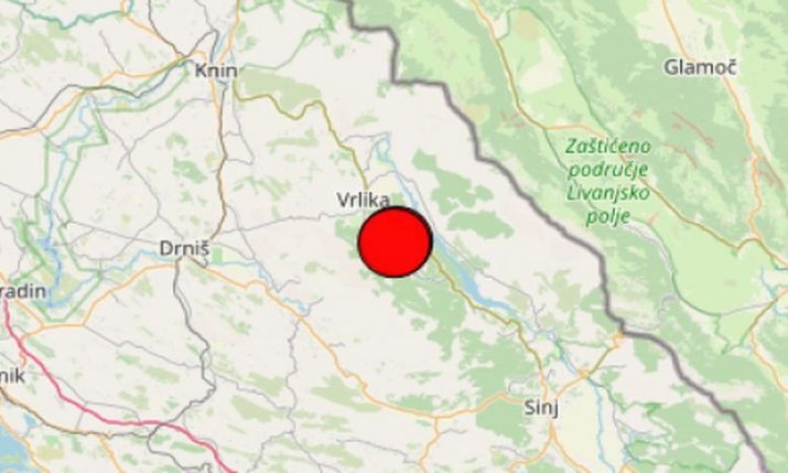 3.4 magnitude earthquake recorded in Dalmatian Hinterland on Sunday