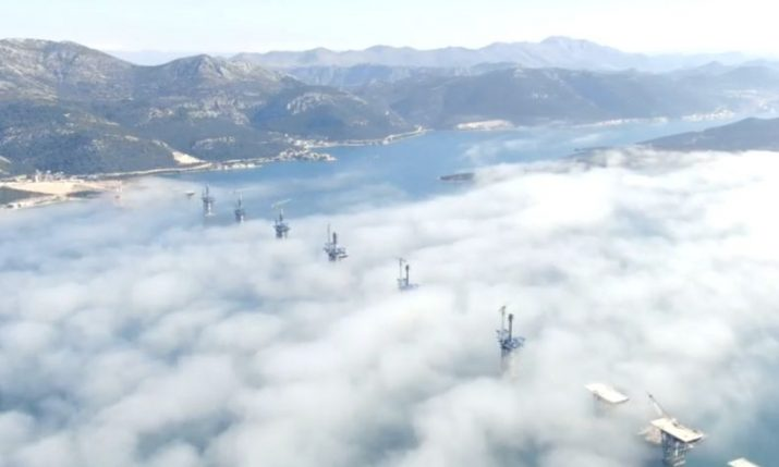 Latest video of Pelješac bridge in surreal fog