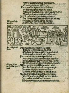 Illustrated page from the second edition of Judita written and illustrated by Croatian rennaisance writer Marko Marulić, published in Zadar, May 1522.