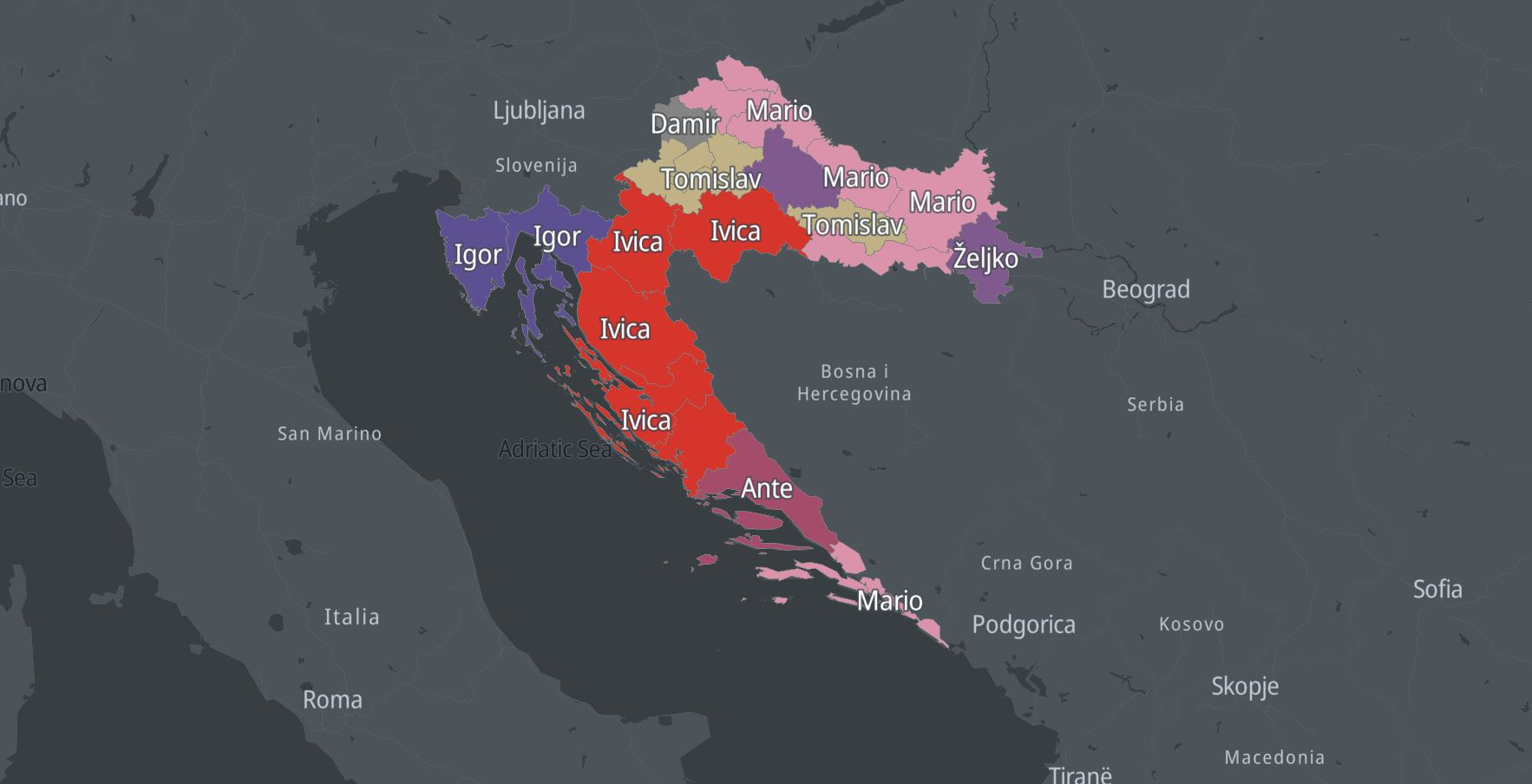 Map of Croatia showing most popular names over generations