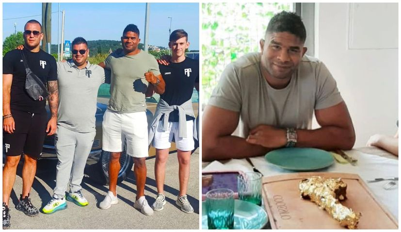 UFC star Alistair Overeem enjoys gold steak in Trogir