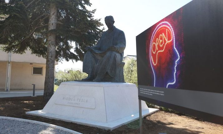 Ceremony of returned Tesla monument to Gospić heldon new Nikola Tesla Square