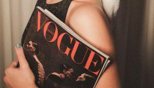 Billie Eilish on Vogue cover wearing suspender belt by Croatian seamstress