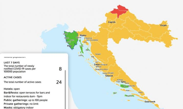 Croatia COVID-19 Map: Check the epidemiological situation, measures, green zones