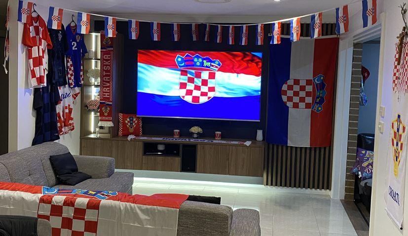 Passionate Croatia fans in Australia set up epic TV room for Eurosin the family home