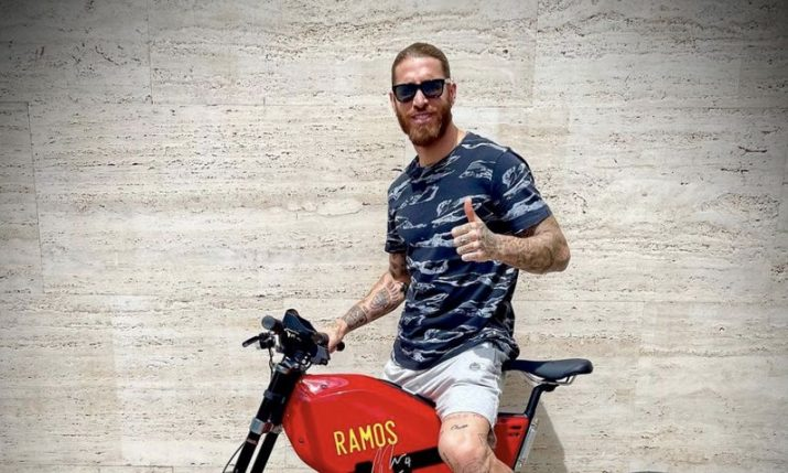 Sergio Ramos sends Spain support at Euro on his Rimac bike