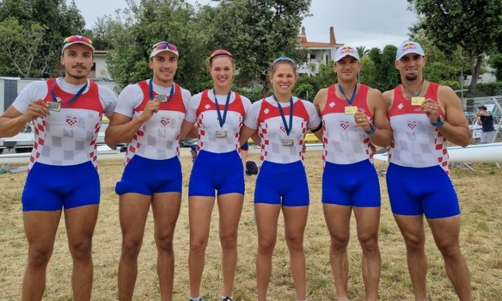 Brothers and sisters from Croatia celebrate at World Rowing Cup