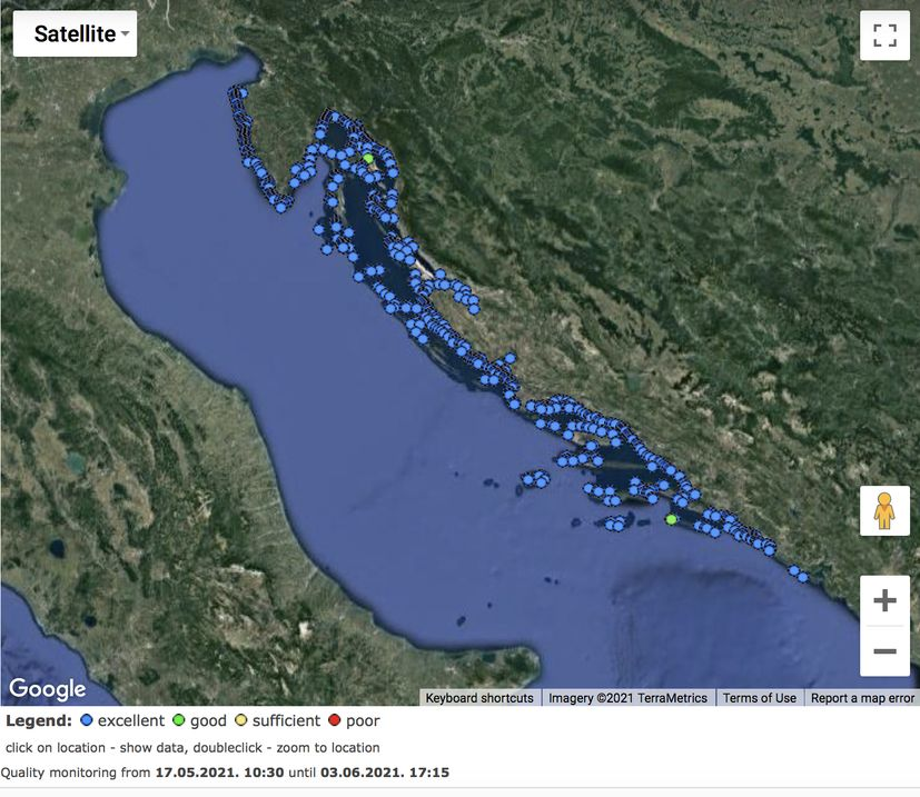 Water quality at Croatian beaches excellent