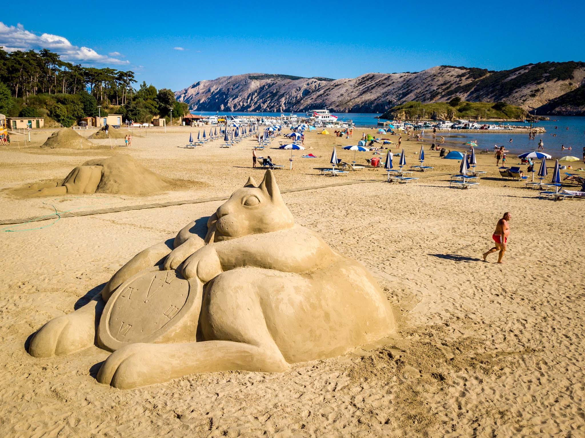 Amazing sand sculptures on Paradise beach in Lopar