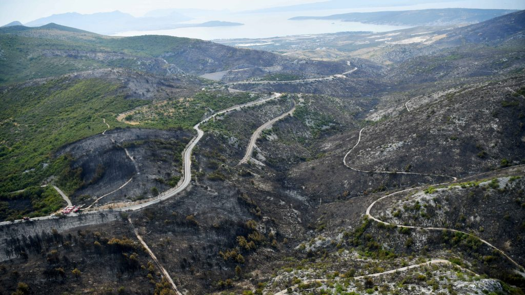 devastated areas near Seget Gornji, Trogir on the Dalmatian coast by helicopter