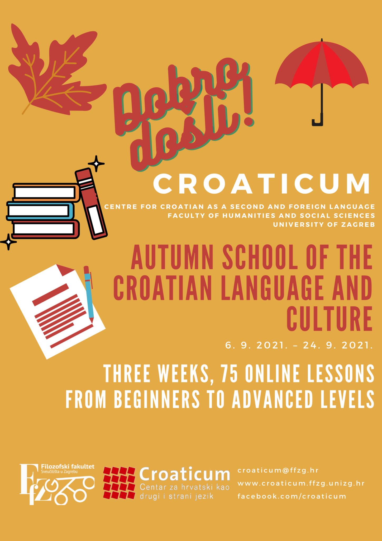 Croaticum autumn school of Croatian language and culture online