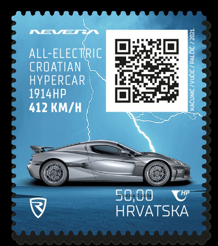 Croatian crypto stamp featuring the Rimac Nevera