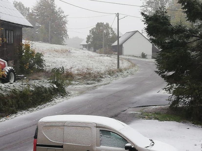 First snow of the season in Croatia